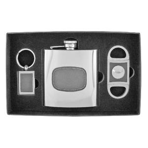 Набор для сигар: фляжка, брелок, гильотина; 170 мл, 22,7х13,7х5 см; металл, искусственная кожа