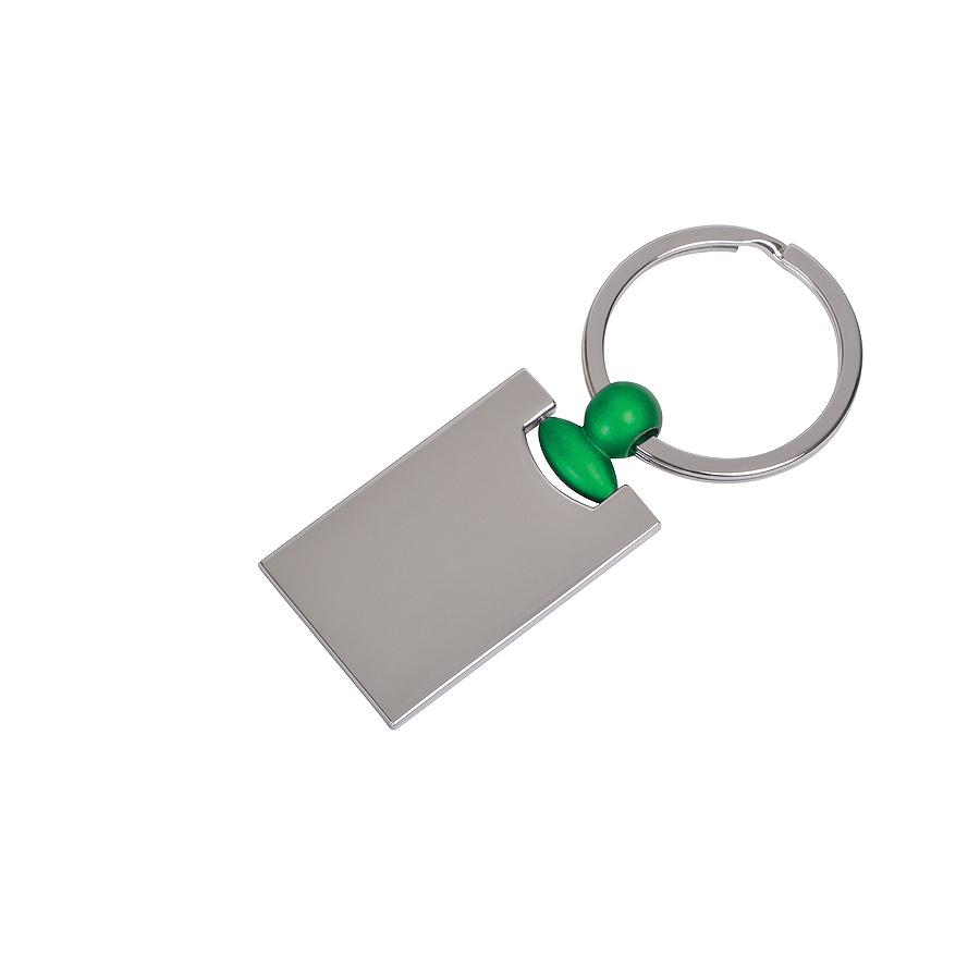 Брелок Техно с зеленым элементом, 2,2х4,2х0,3см, металл
