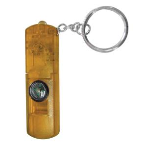 Брелок-фонарик со свистком и компасом; желтый; 6,3х2,1х0,8 см; пластик