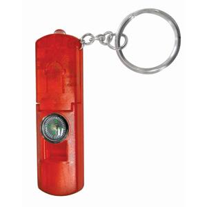 Брелок-фонарик со свистком и компасом; красный; 6,3х2,1х0,8 см; пластик