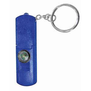 Брелок-фонарик со свистком и компасом; синий; 6,3х2,1х0,8 см; пластик