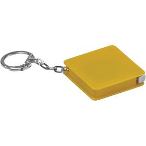 Брелок-рулетка (1 м); желтый; 4х4х1 см; пластик