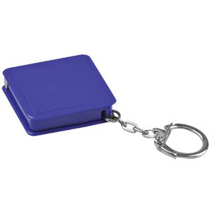 Брелок-рулетка (1 м); синий; 4х4х1 см; пластик