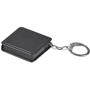 Брелок-рулетка (1 м); черный; 4х4х1 см; пластик