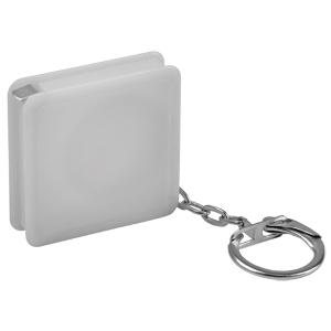 Брелок-рулетка (1 м); белый; 4х4х1 см; пластик