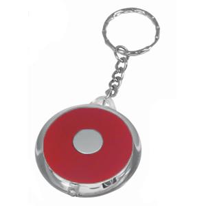 Брелок-фонарик со светодиодом; красный; D=5 см; H=0,8 см; пластик