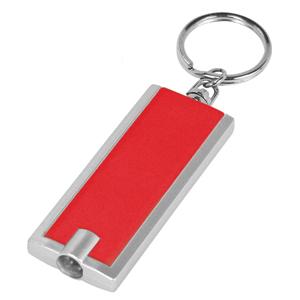 Брелок-фонарик со светодиодом; красный; 6х2,3х1 см; пластик