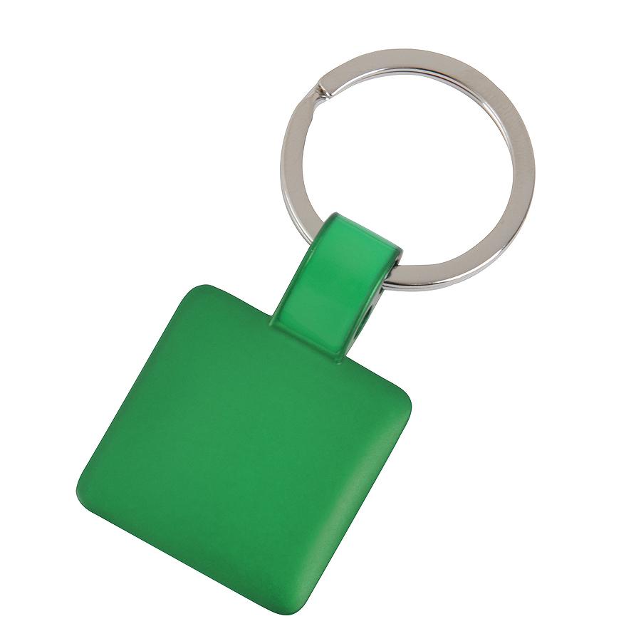 Брелок Квадрат,зеленый,3,2х3,2х0,1см,металл