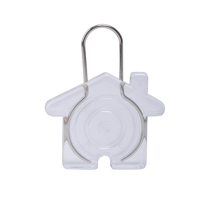 Брелок Дом, прозрачный, 5,8х4,7х0,9см, пластик, металл