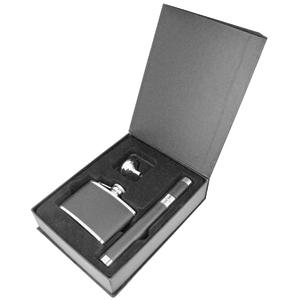 Набор для сигар: фляжка, воронка, тубус для сигары; 150 мл; металл, искусственная кожа