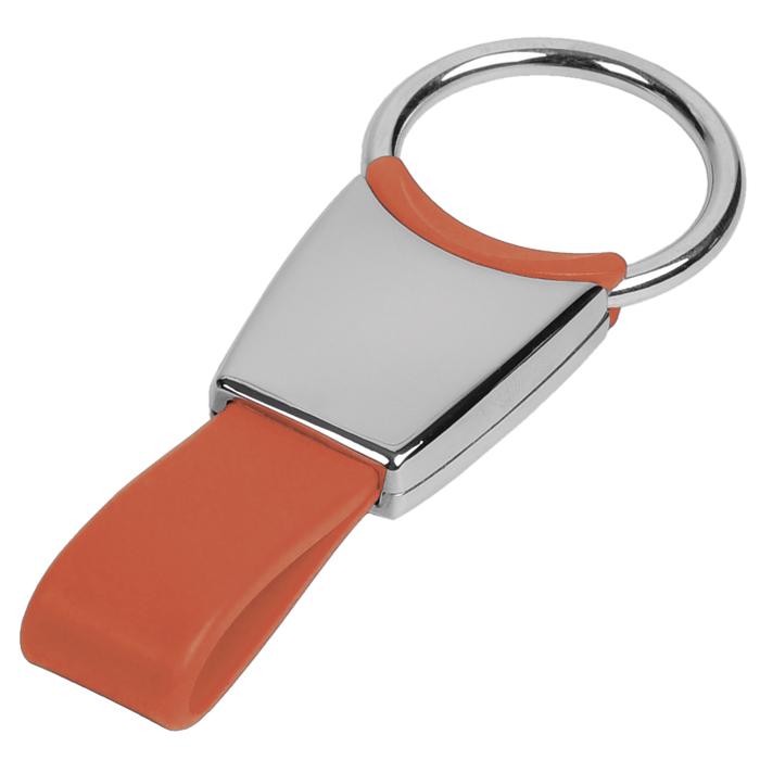 Брелок красный; 6х2,5х0,8 см; металл, силикон