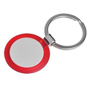 Брелок Круг красный; 3,5х3,5х0,5 см; металл, пластик