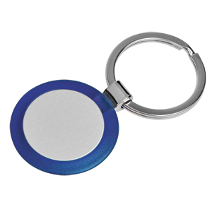 Брелок Круг синий; 3,5х3,5х0,5 см; металл, пластик