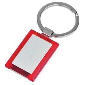 Брелок Прямоугольник красный; 2,7х4х0,5 см; металл, пластик