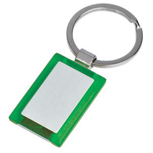 Брелок Прямоугольник зеленый; 2,7х4х0,5 см; металл, пластик