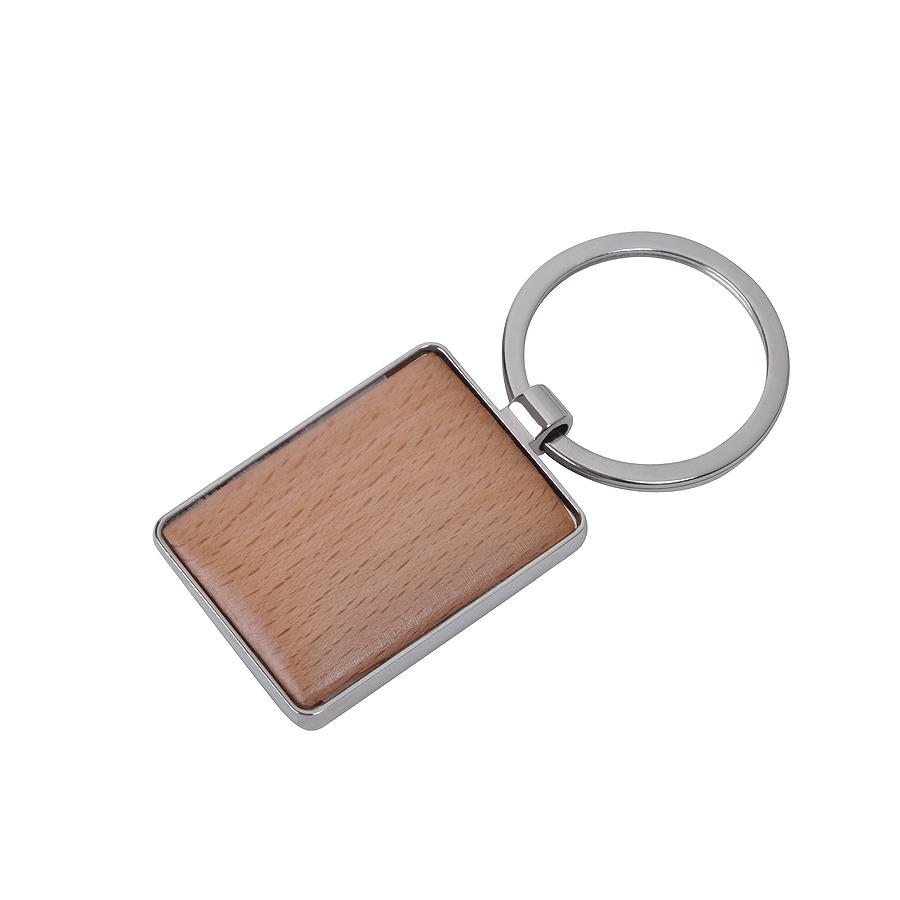 Брелок Woody прямоугольный, 3х4х0,5см, дерево, металл