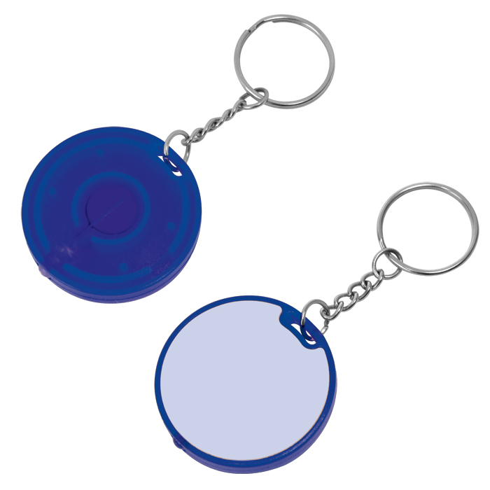 Брелок-фонарик; белый с синим, 4,3х4,3х0,7см, пластик