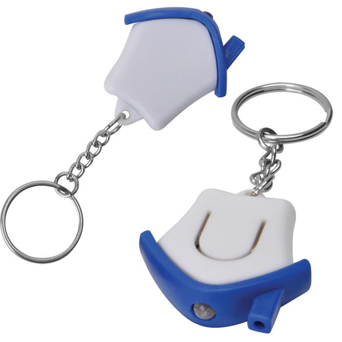 Брелок-фонарик Дом; белый с синим, 3,5х3,5х1см, пластик