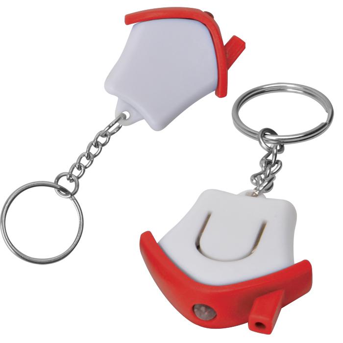 Брелок-фонарик Дом; белый с красным, 3,5х3,5х1см, пластик