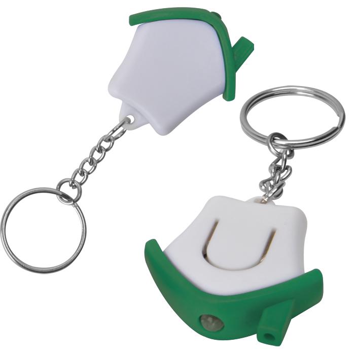 Брелок-фонарик Дом; белый с зеленым, 3,5х3,5х1см, пластик