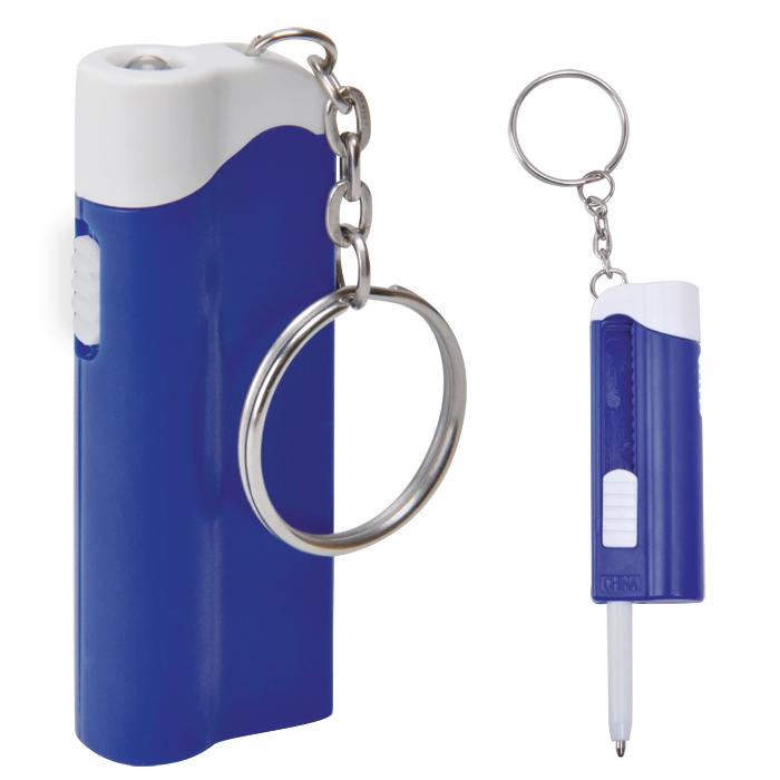 Брелок-фонарик с ручкой; белый с синим, 2,2х6,5х1,3см, пластик
