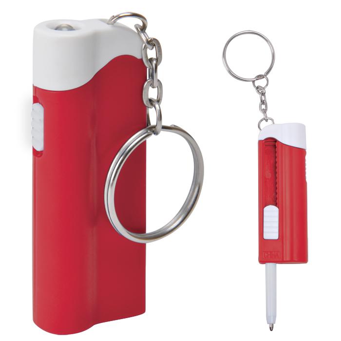 Брелок-фонарик с ручкой; белый с красным, 2,2х6,5х1,3см, пластик