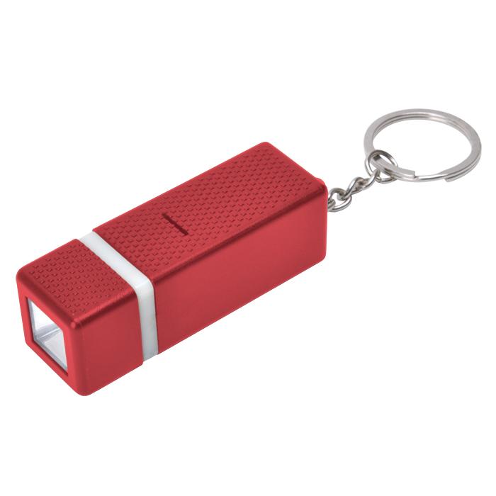 Брелок с фонариком; красный, 2х6х2см, пластик