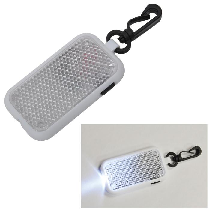 Светоотражатель на карабине с фонариком; белый, 4х6,8х1см, пластик