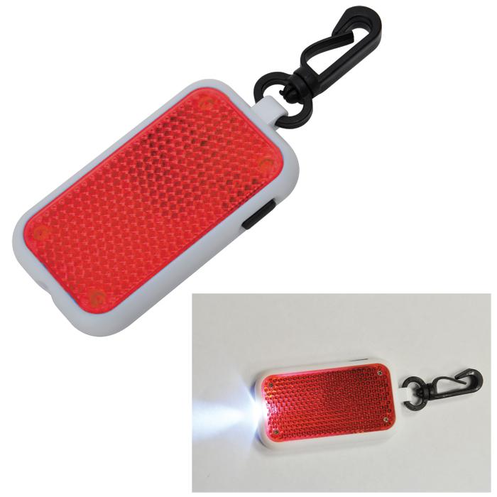 Светоотражатель на карабине с фонариком; красный, 4х6,8х1см, пластик