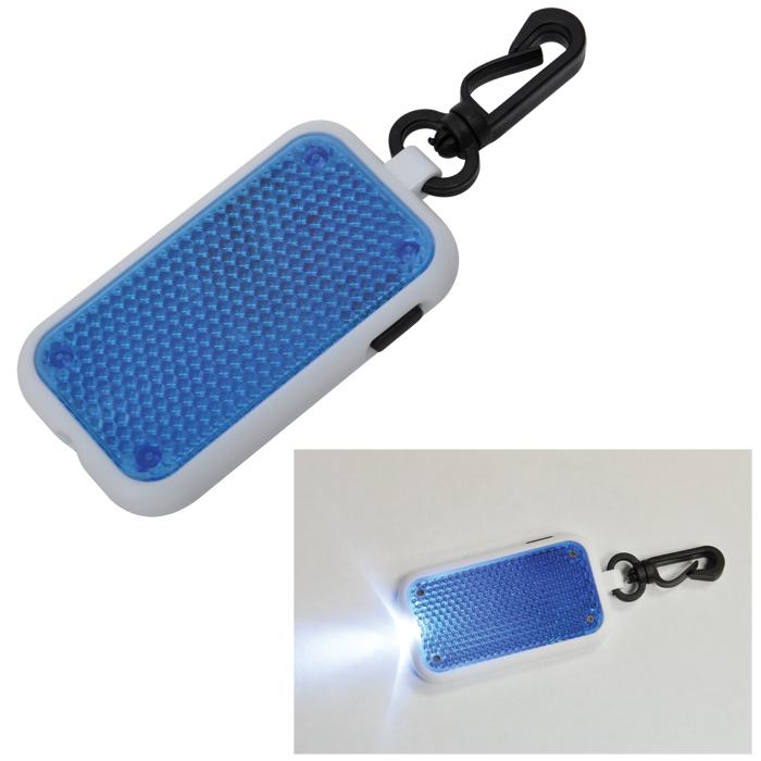 Светоотражатель на карабине с фонариком; синий, 4х6,8х1см, пластик