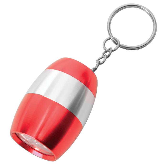 Брелок с фонариком; красный, 3,2х4,5х2,5см, металл