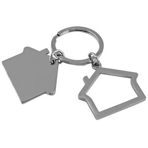 Брелок Домики; 3х2,5х0,2 см; металл