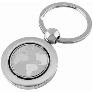 Брелок Земной шар; серебристый; 7х3,4х0,4 см; металл