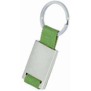 Брелок; зеленый с серебристым; 8,4х3,5х0,5 см; металл, текстиль