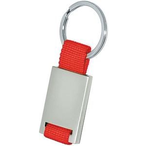 Брелок; красный с серебристым; 8,4х3,5х0,5 см; металл, текстиль