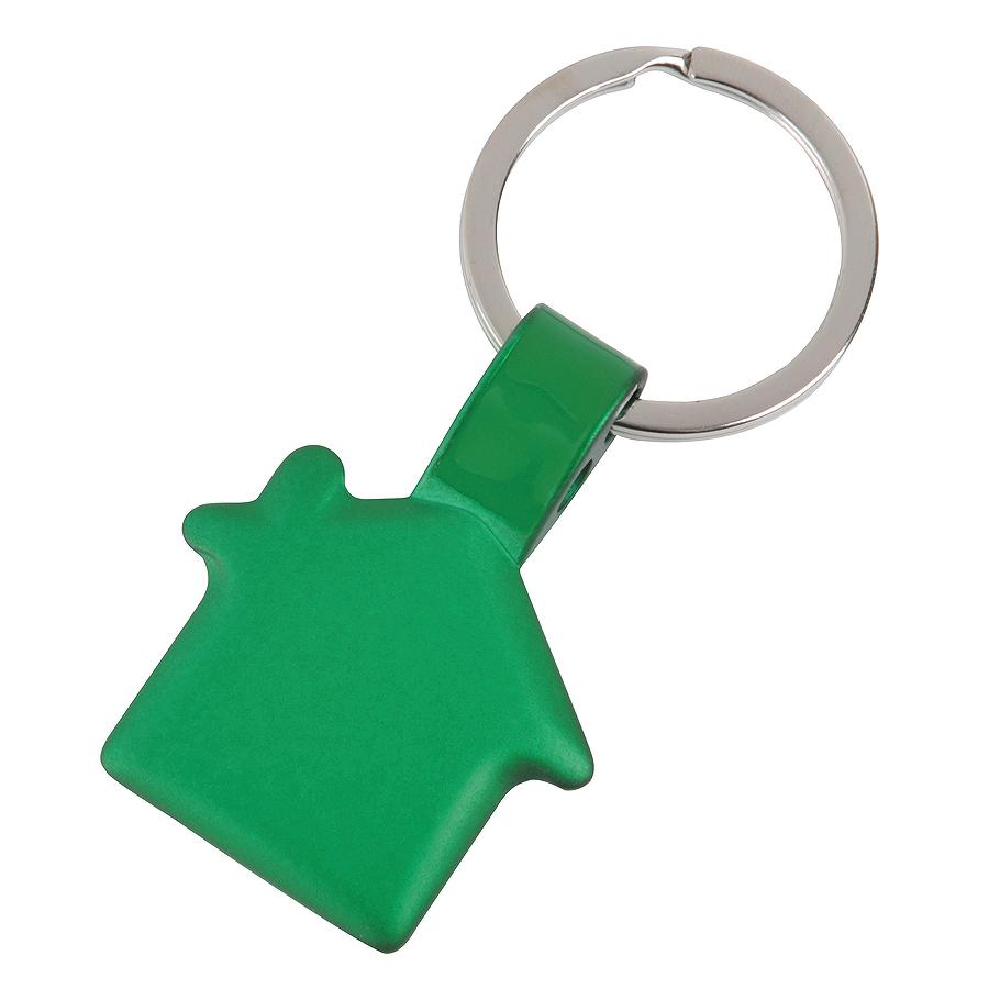 Брелок Дом,зеленый,3,5х3х0,2см,металл