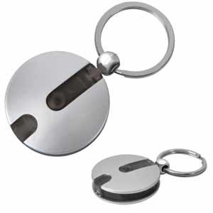 Брелок-фонарик Круг черный; D=4 см; H=1 см; пластик