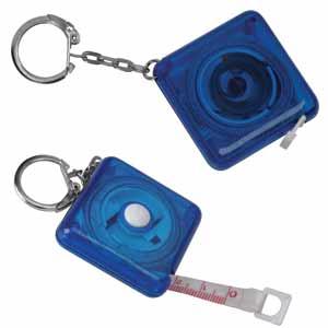 Брелок-рулетка (1м) прозрачно-синий; 4,6х4,6х1,4 см; пластик