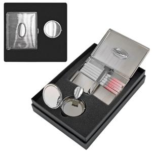 Набор: портсигар и карманная пепельница ПЕРЕКУР ; 19,5х13,5х5 см; металл; лазерная гравировка