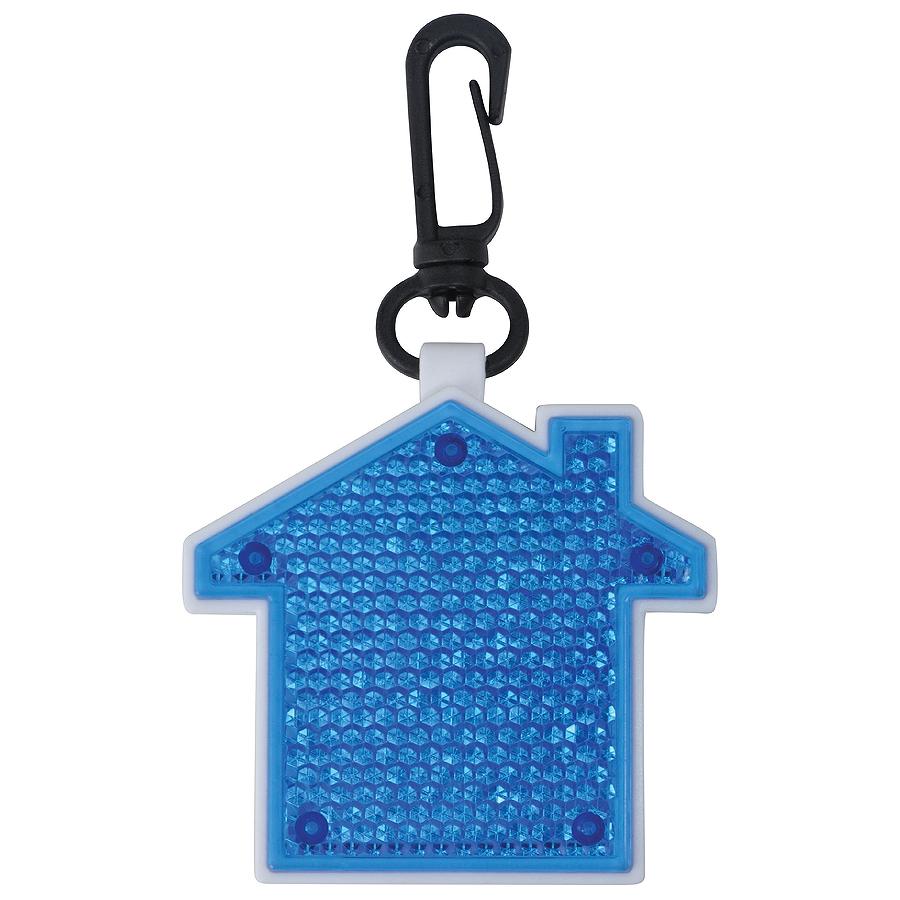 Светоотражатель с фонариком на карабине Дом, синий, 5,2х5,5х1,1см, пластик