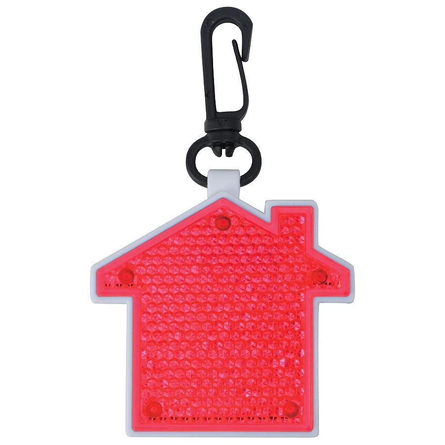 Светоотражатель с фонариком на карабине Дом, красный, 5,2х5,5х1,1см, пластик