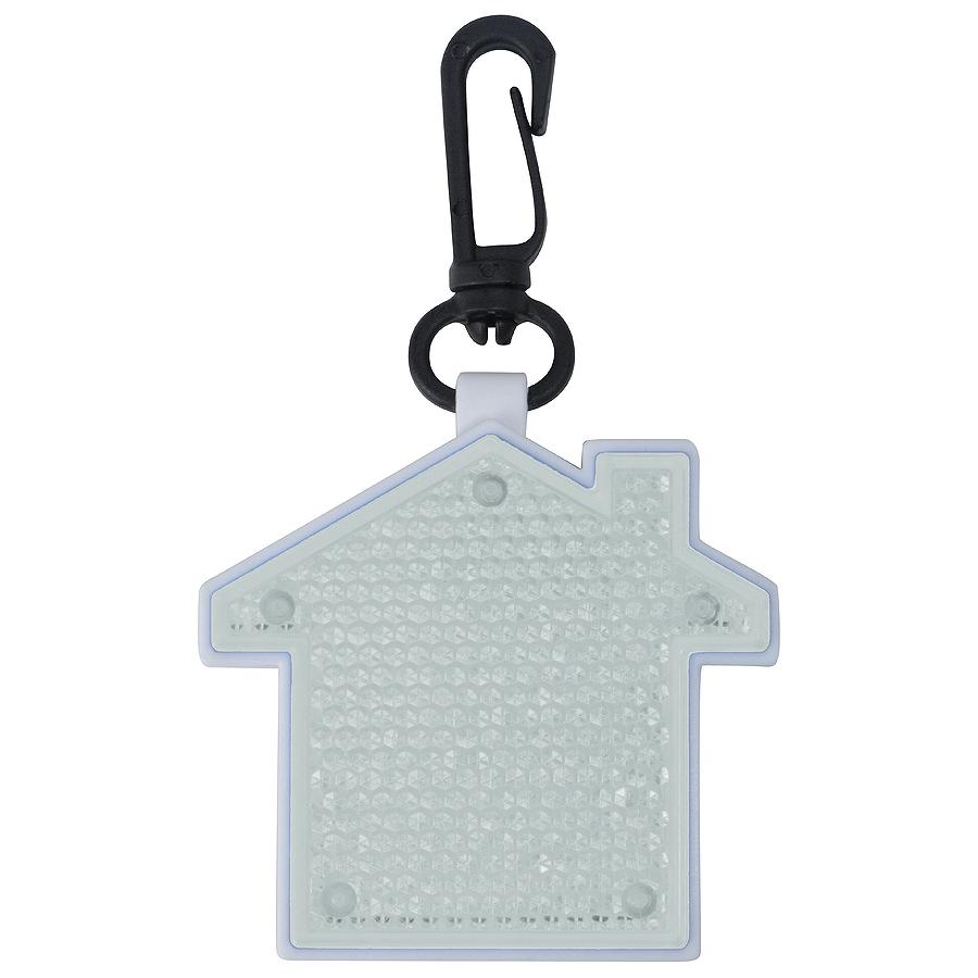 Светоотражатель с фонариком на карабине Дом, белый, 5,2х5,5х1,1см, пластик