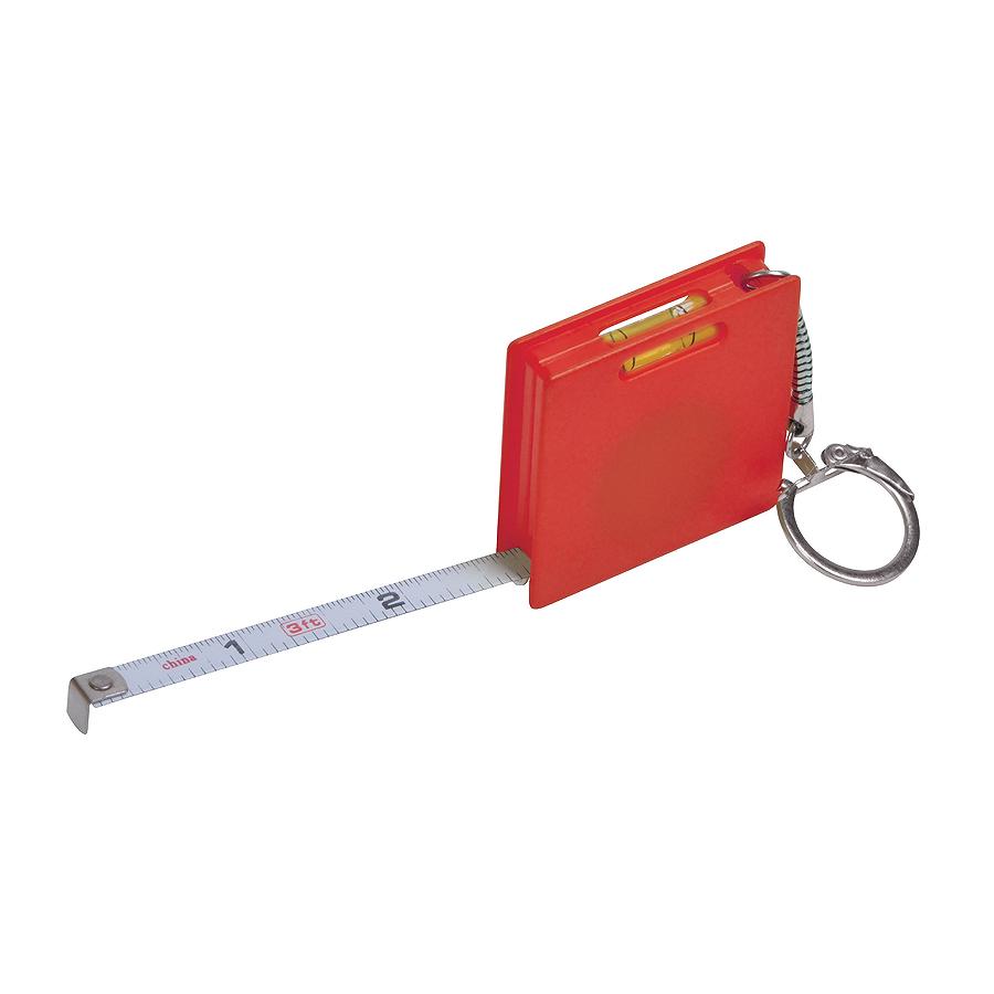 Брелок Строитель с рулеткой (1м) и уровнем, красный, 4,3х4,3х1см, пластик