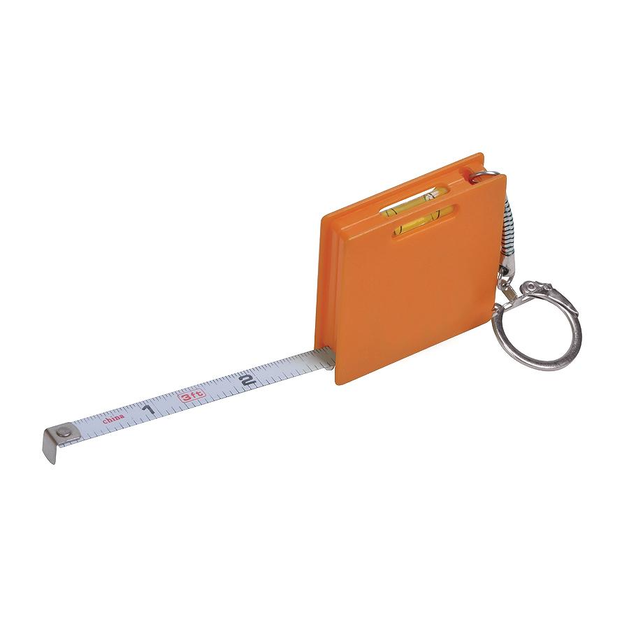 Брелок Строитель с рулеткой (1м) и уровнем, оранжевый, 4,3х4,3х1см, пластик