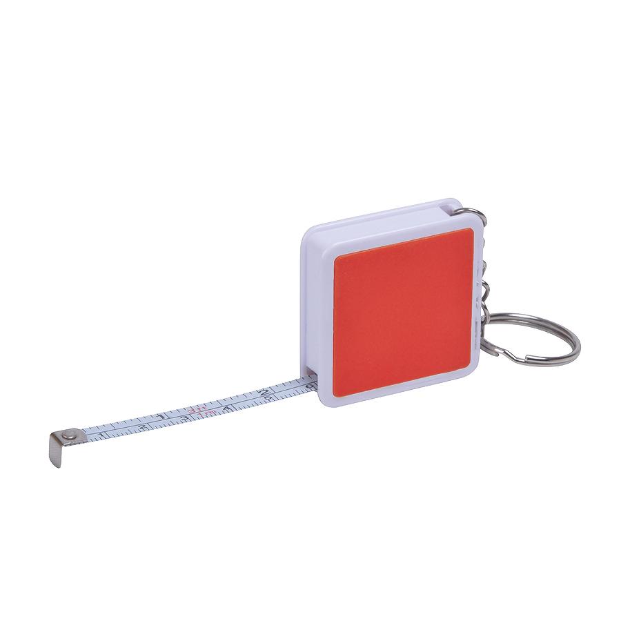 Брелок Hit с рулеткой (1м), красный с белым, 4х4х1см, пластик