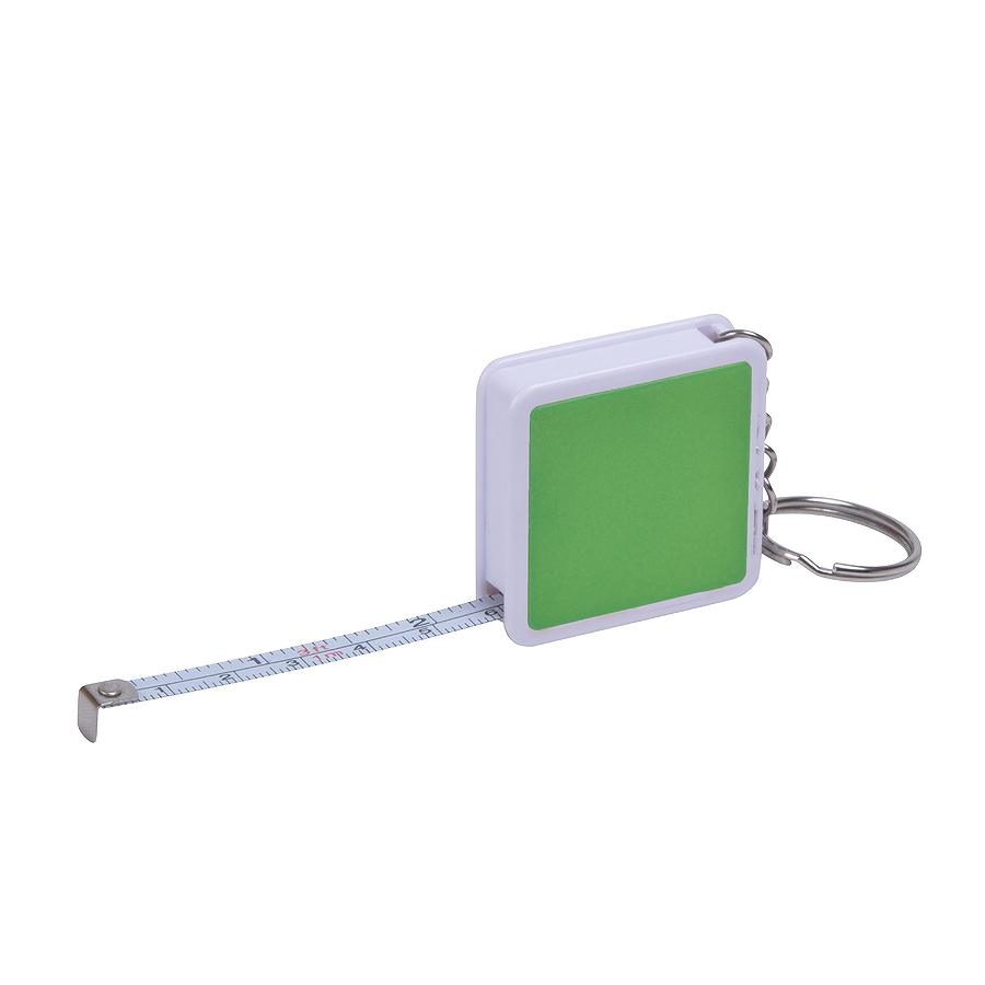 Брелок Hit с рулеткой (1м), зеленый с белым, 4х4х1см, пластик