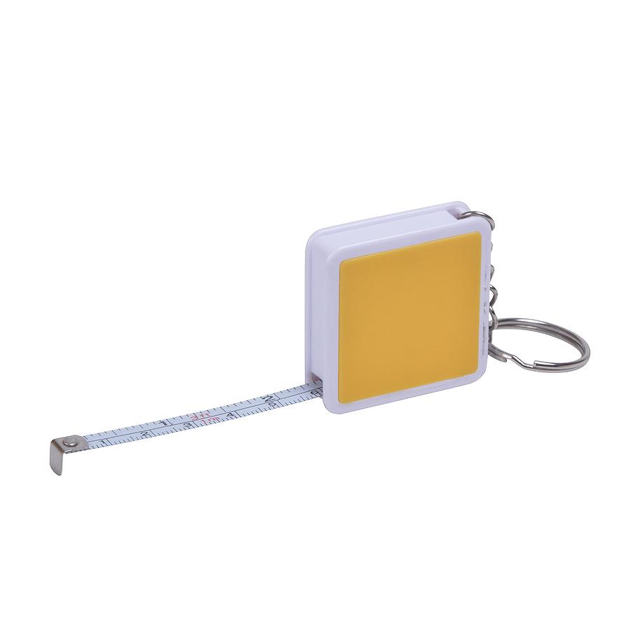 Брелок Hit с рулеткой (1м), желтый с белым, 4х4х1см, пластик